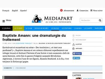 Baptiste  Amann: une dramaturgie du frottement
