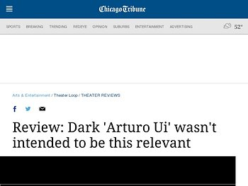Review: Dark 'Arturo Ui' wasn't intended to be this relevant