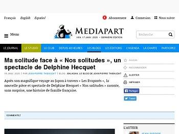 Ma solitude face à « Nos solitudes », un spectacle de Delphine Hecquet
