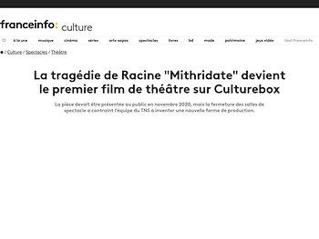 """La tragédie de Racine """"Mithridate"""" devient le premier film de théâtre sur Culturebox"""