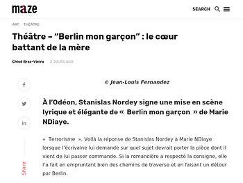 """""""Berlin mon garçon"""": le cœur battant de la mère -"""