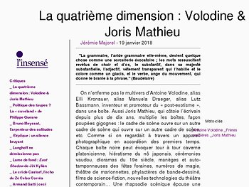 La quatrième dimension : Volodine & Joris Mathieu