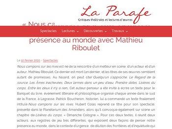 Penser notre présence au monde avec Mathieu Riboulet