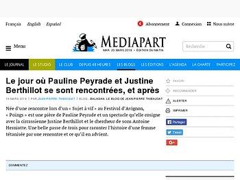 Le jour où Pauline Peyrade et Justine Berthillot se sont rencontrées, et après