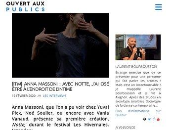 [ITW] Anna Massoni : Avec Notte, j'ai osé être à l'endroit de l'intime