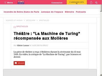 """""""La Machine de Turing"""" récompensée aux Molières"""