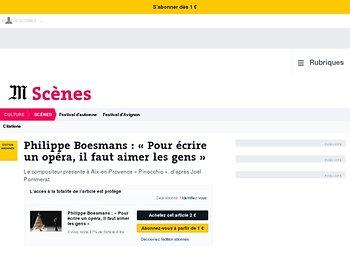 Philippe Boesmans: «Pour écrire un opéra, il faut aimer les gens»