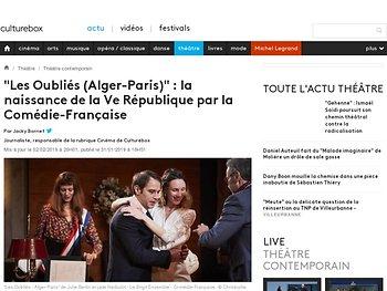 """""""Les Oubliés (Alger-Paris)"""" : la naissance de la Ve République par la Comédie-Française"""