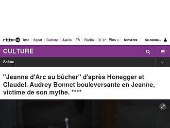 """""""Jeanne d'Arc au bûcher"""" d'après Honegger et Claudel. Audrey Bonnet bouleversante en Jeanne, victime de son mythe."""