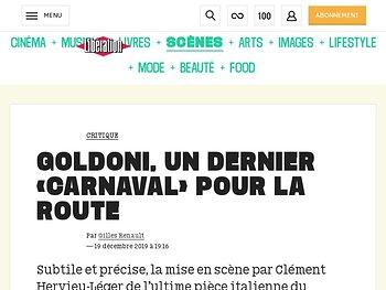 Goldoni, un dernier «Carnaval» pour la route