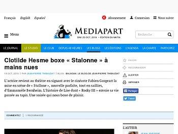 Clotilde Hesme boxe « Stalonne » à mains nues