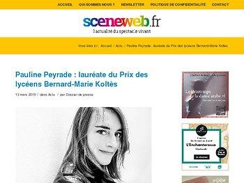 Pauline Peyrade : lauréate du Prix des lycéens Bernard-Marie Koltès