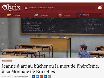 Jeanne d'arc au bûcher ou la mort de l'héroïsme, à La Monnaie de Bruxelle