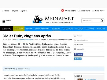 Didier Ruiz, vingt ans après