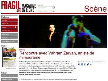 Rencontre avec Vahram Zaryan, artiste de mimodrame (entretien)