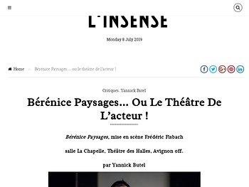 Bérénice Paysages… ou le théâtre de l'acteur !