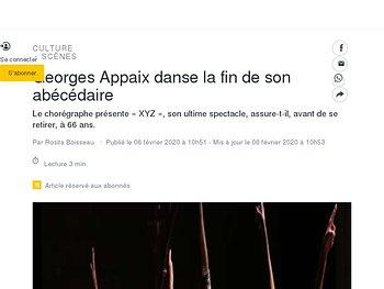 Georges Appaix danse la fin de son abécédaire