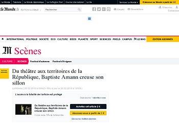Du théâtre aux territoires de la République, Baptiste Amann creuse son sillon