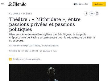 «Mithridate», entre passions privées et passions politiques