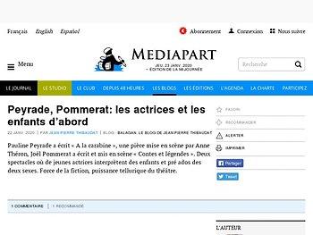 Peyrade, Pommerat: les actrices et les enfants d'abord