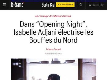 """Dans """"Opening Night"""", Isabelle Adjani électrise les Bouffes du Nord"""