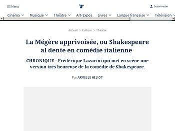 La Mégère apprivoisée, ou Shakespeare al dente en comédie italienne