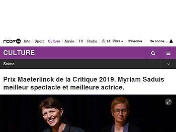 Prix Maeterlinck de la Critique 2019. Myriam Saduis meilleur spectacle et meilleure actrice.