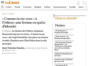 «Comme tu me veux» à l'Odéon: une femme en quête d'identité