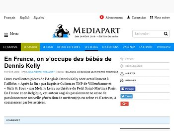 En France, on s'occupe des bébés de Dennis Kelly