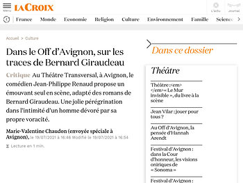 Dans le Off d'Avignon, sur les traces de Bernard Giraudeau