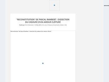 """""""Reconstitution"""" de Pascal Rambert : dissection du cadavre d'un amour clôturé"""