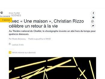 Avec «Une maison», Christian Rizzo célèbreun retour à la vie