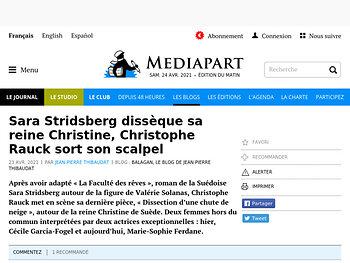 Sara Stridsberg dissèque sa reine Christine, Christophe Rauck sort son scalpel