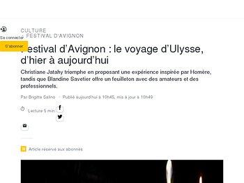 Festival d'Avignon : le voyage d'Ulysse, d'hier à aujourd'hui