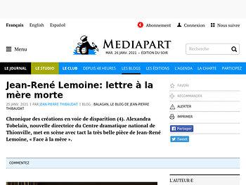 Jean-René Lemoine : lettre à la mère morte