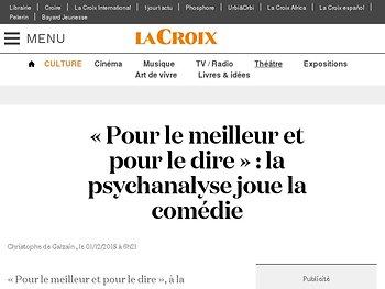 «Pour le meilleur et pour le dire»: la psychanalyse joue la comédie