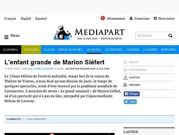 L'enfant grande de Marion Siéfert