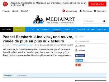 """Pascal Rambert: « Une vie », une œ""""uvre, vouée de plus en plus aux acteurs"""