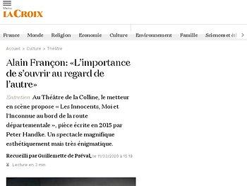 Alain Françon: «L'importance de s'ouvrir au regard de l'autre»