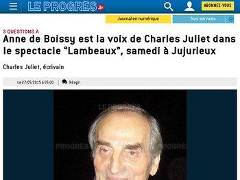 Anne de Boissy est la voix de Charles Juliet
