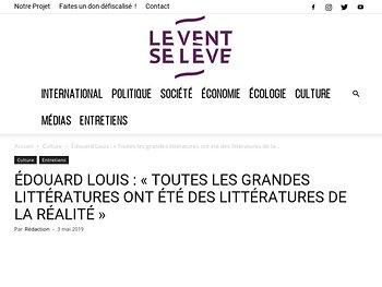 Édouard Louis : « Toutes les grandes littératures ont été des littératures de la réalité »