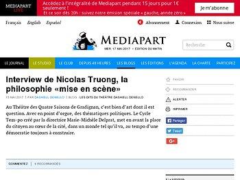 Interview de Nicolas Truong, la philosophie «mise en scène»