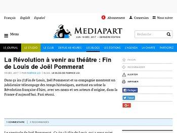 La Révolution à venir au théâtre : Fin de Louis de Joël Pommerat