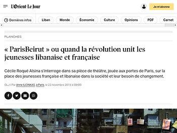 «ParisBeirut» ou quand la révolution unit les jeunesses libanaise et française