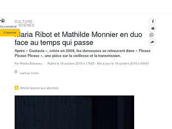 Maria Ribot et Mathilde Monnier en duo face au temps qui passe