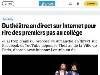 Du théâtre en direct sur Internet pour rire des premiers pas au collège