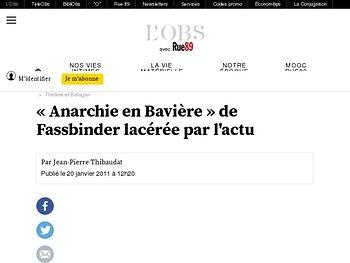 """""""Anarchie en Bavière"""" de Fassbinder lacérée par l'actu"""