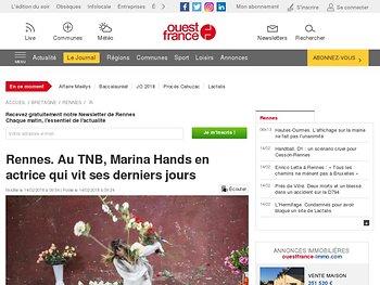 Marina Hands en actrice qui vit ses derniers jours