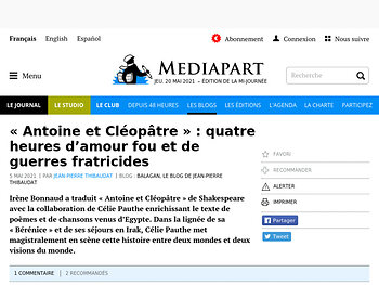 « Antoine et Cléopâtre » : quatre heures d'amour fou et de guerres fratricides