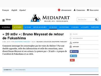 « 20 mSv »: Bruno Meyssat de retour de Fukushima